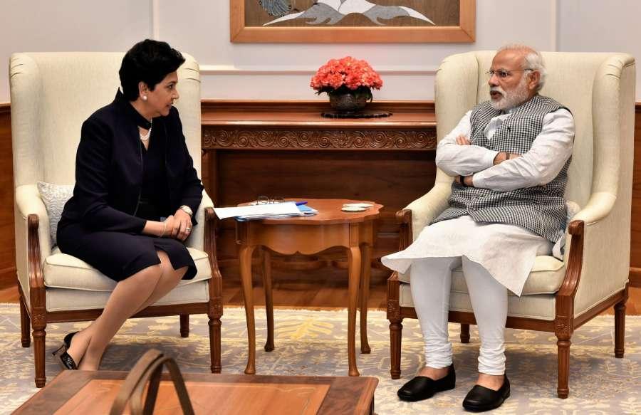 New Delhi: CEO PepsiCo Chairperson Indra Nooyi calls on Prime Minister Narendra Modi, in New Delhi on March 2, 2017. (Photo: IANS/PIB) by .
