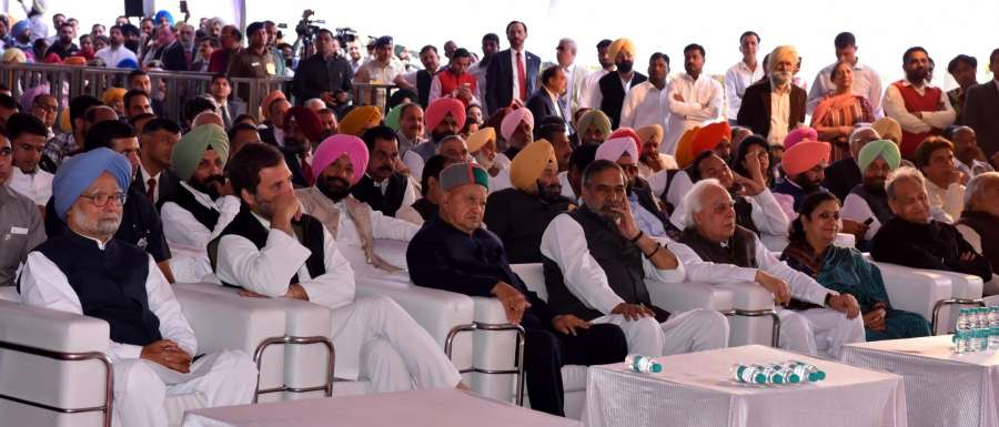 Chandigarh: Former Prime Minister Manmohan Singh, Congress Vice President Rahul Gandhi, Himachal Pradesh Chief Minister Virbhadra Singh, senior party leaders Anand Sharma, Ashok Gehlot and Kapil Sibal during Captain Amarinder Singh's swearing-in as Chief Minister at the Raj Bhawan in Chandigarh, on March 16, 2017. (Photo: IANS) by .