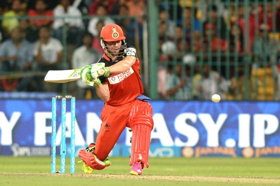 Bengaluru: AB de Villiers of Royal Challengers Bangalore in action during qualifier 1 of IPL 2016 between Gujarat Lions and Royal Challengers Bangalore at M Chinnaswamy Stadium in Bengaluru on May 24, 2016. (Photo: IANS) by .