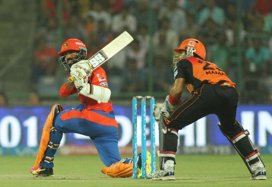 New Delhi: Dinesh Karthik of Gujarat Lions in action during Qualifier 2 of IPL 2016 between Gujarat Lions and Sunrisers Hyderabad at Feroz Shah Kotla Stadium in New Delhi on May 27, 2016. (Photo: Surjeet Yadav/IANS) by .