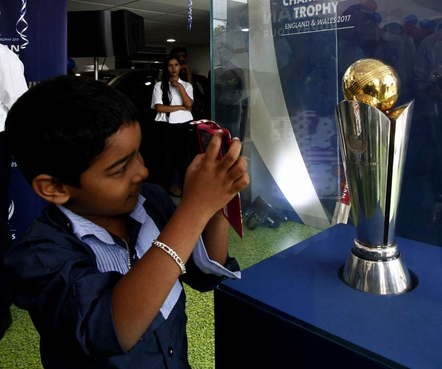 Chennai: The ICC Champions Trophy 2017 being on display during its 'Trophy Tour' in India; in Chennai on March 17, 2017. (Photo: IANS) by .