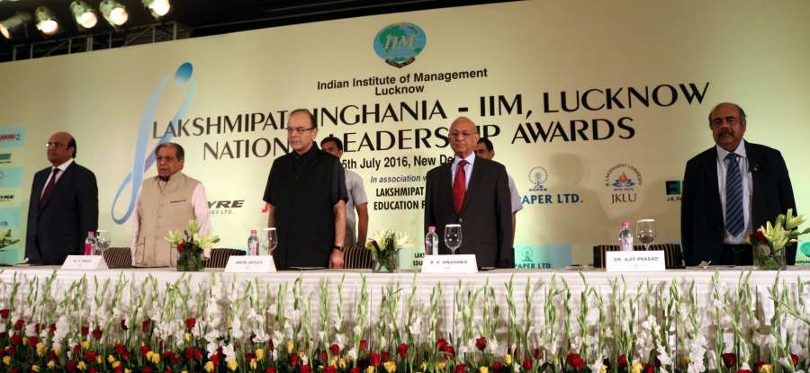 Lucknow: Union Finance Minister Arun Jaitley during Lakshmipat Singhania-IIM Lucknow National Leadership Award ceremony in New Delhi, on July 15, 2016. (Photo: IANS) by .