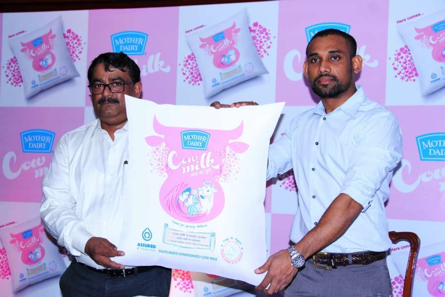 Hyderabad: Mother Dairy Business Head-Milk Sandeep Ghosh during the launch of a cow milk variant in Hyderabad on July 21, 2016. (Photo: IANS) by .