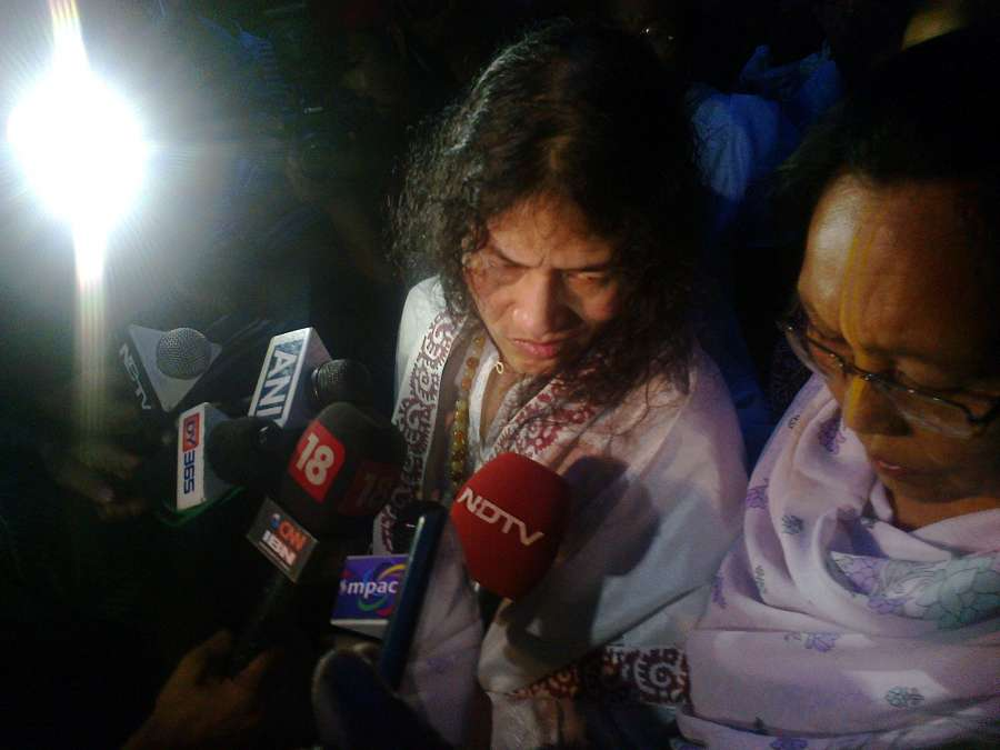 Irom Sharmila talks to the media as she walks free after being released from hospital in Imphal on Aug 20, 2014. Sharmila, 42, better known as the