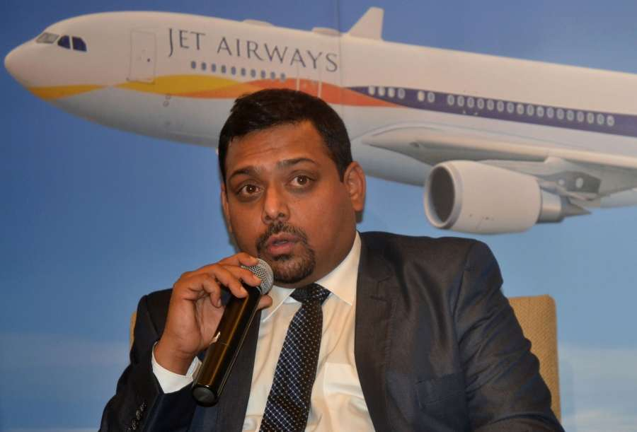 Bengaluru: Jet Airways Vice-President Commercial (India) Praveen Iyer addresses a press conference during the launch of direct daily services from Bengaluru to Singapore and Colombo by Jet Airways; in Bengaluru on Dec 13, 2016. (Photo: IANS) by .