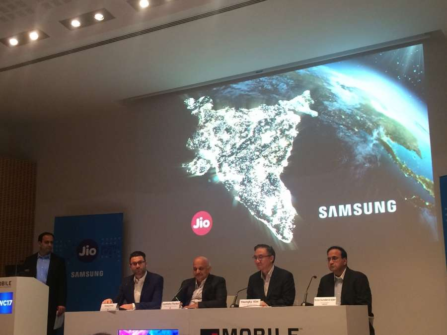 "Barcelona: Reliance Jio Infocomm President Jyotindra Thacker and Samsung Electronics President and Head of Networks Business Youngky Kim during the launch of Samsung and Jio's ""I&G (Infill & Growth) Project"" in Barcelona on Feb 28, 2017. (Photo: IANS) by ."
