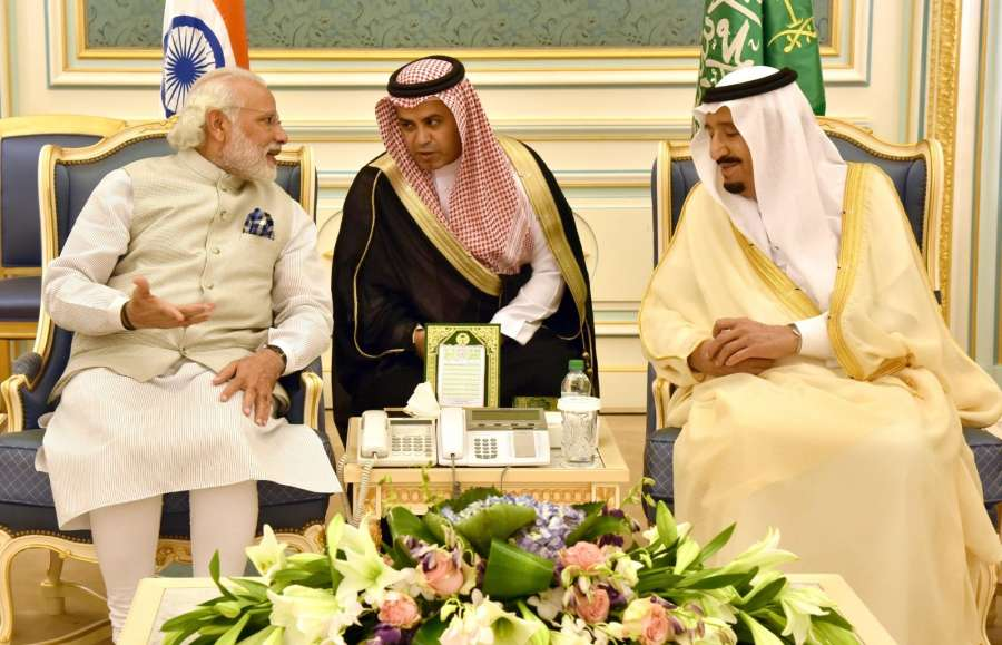 Riyadh: Prime Minister Narendra Modi meets King Salman bin Abdulaziz Al Saud of Saudi Arabia, at the Royal Court, in Riyadh, Saudi Arabia on April 3, 2016. (Photo: IANS/PIB) by .