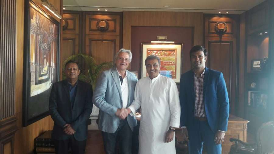 New Delhi: Portugal's Luis Norton de Matos who has been appointed as Head Coach of the India U-17 World Cup Team for the forthcoming FIFA U-17 World Cup India 2017 by All India Football Federation(AIFF) with AIFF President Praful Patel and others in New Delhi, on March 1, 2017. (Photo: IANS) by .