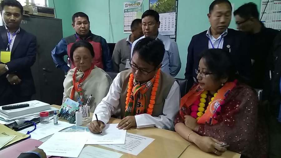 Manipur: BJP's Sapam Ranjan Singh who has won from Konthoujam seat beating Congress K Sharat Singh in the assembly elections in Manipur on March 11, 2017. (Photo: IANS) by .