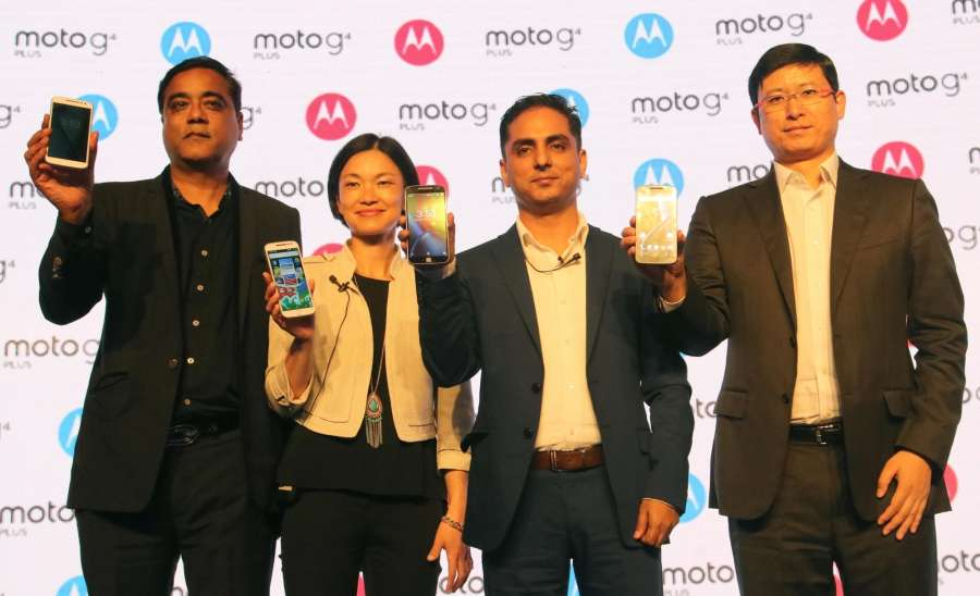 New Delhi: Motorola Mobility India Country Head Amit Boni and Moto G's product manager Allison Yi during the launch of Moto's G4 and G4 plus smartphones in New Delhi, on May 17, 2016. (Photo: IANS) by .