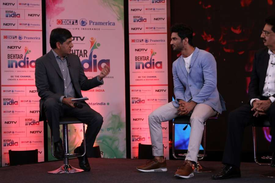 Mumbai: Vikram Chandra, Group CEO & Executive Director, NDTV Group and actor Sushant Singh Rajput during the launch of Behtar India Campaign in Mumbai on March 7, 2017. (Photo: IANS) by .