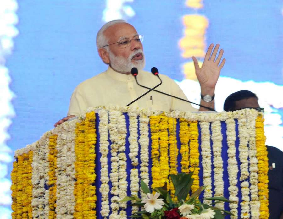 Bharuch: Prime Minister Narendra Modi addresses at the inauguration of the key infrastructure projects, in Bharuch, Gujarat on March 7, 2017. (Photo: IANS) by .