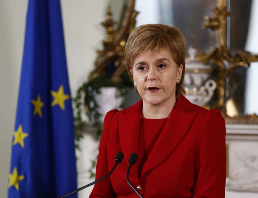 "EDINBURGH, June 24, 2016 (Xinhua) -- Scottish First Minister Nicola Sturgeon speaks at a press conference in Edinburgh, Scotland, Britain, June 24, 2016. Scottish First Minister Nicola Sturgeon said here Friday a second independence referendum was ""highly likely"" after Britain voted to leave the EU. (Xinhua/Scottish government/IANS) by ."