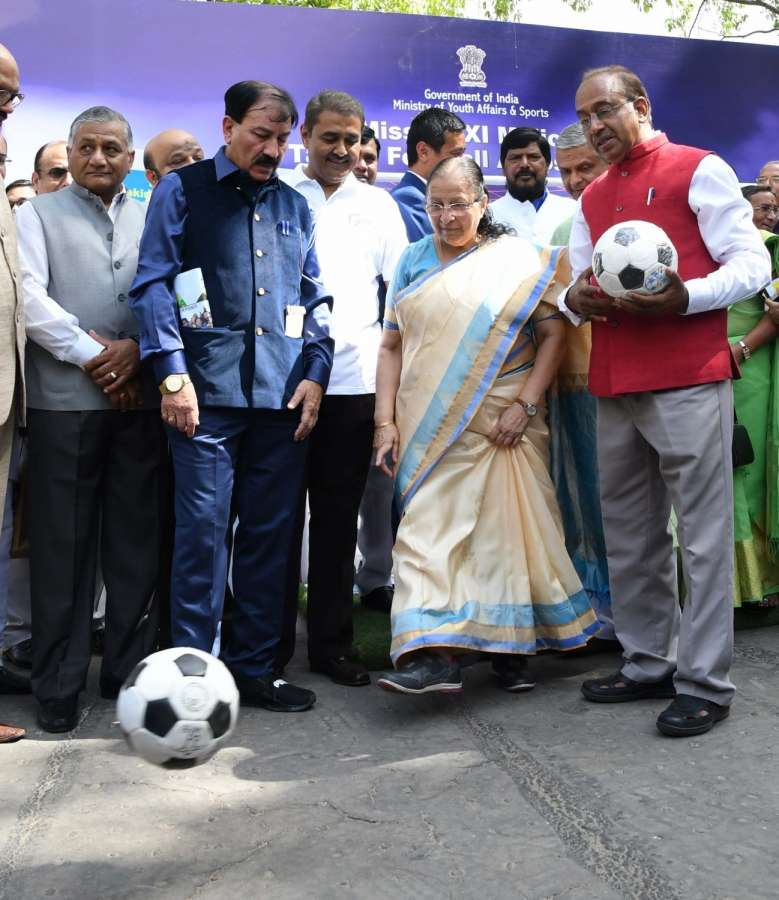 New Delhi: Lok Sabha Speaker Sumitra Mahajan presents the footballs to MPs as part of the Mass Awareness Programme launched by Sports Ministry to reach out to XI Million Children to create football fever across the country, at Parliament House, in New Delhi on March 29, 2017. Also seen Union Sports Minister Vijay Goel. (Photo: IANS) by .
