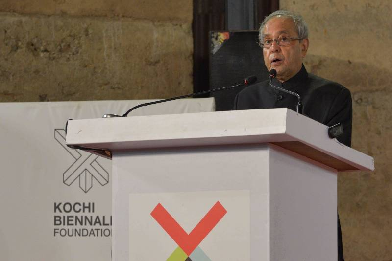 Cochin: President Pranab Mukherjee addresses during the inaugurates the Kochi Muziris biennale seminar 'Importance of Sustainable Culture Building' organised by the Kochi Muziris Foundation in Cochin, Kerala on March 2, 2017. (Photo: IANS/RB) by .