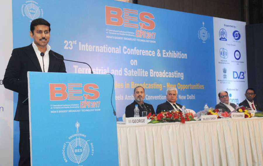 """New Delhi: Union Minister of State for Information & Broadcasting, Col. Rajyavardhan Singh Rathore addresses during the inauguration of the """"BES Expo 2017"""" - 23rd International Conference & Exhibition on Terrestrial & Satellite Broadcasting, organised by the Broadcast Engineering Society (India) in New Delhi on Feb 2, 2017. (Photo: IANS/PIB) by ."""