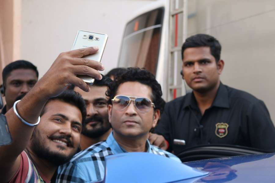 Mumbai: Former Indian cricket player Sachin Tendulkar arrives to cast his vote for the Brihanmumbai Municipal Corporation (BMC) election in Mumbai on Feb 21, 2017. (Photo: IANS) by .
