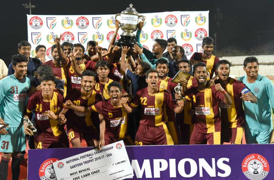 Bambolim: West Bengal footballers after winning the Santosh Trophy against Goa in Bambolim, Goa on March 26, 2017. (Photo: IANS) by .