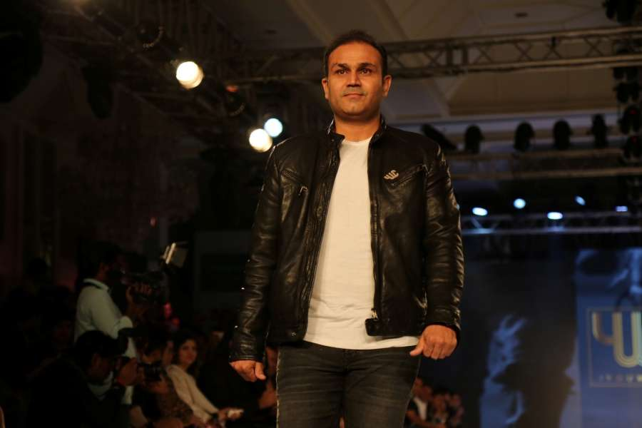 Mumbai: Former Indian cricket player Virender Sehwag during the launch of Indian cricket player Yuvraj Singhs clothing brand YWC designed by fashion designers Shantanu and Nikhil, in Mumbai, on Sep 3, 2016. The royalties from the sale will support YouWeCan, a NGO for empowerment of cancer patients and survivors. (Photo: IANS) by .