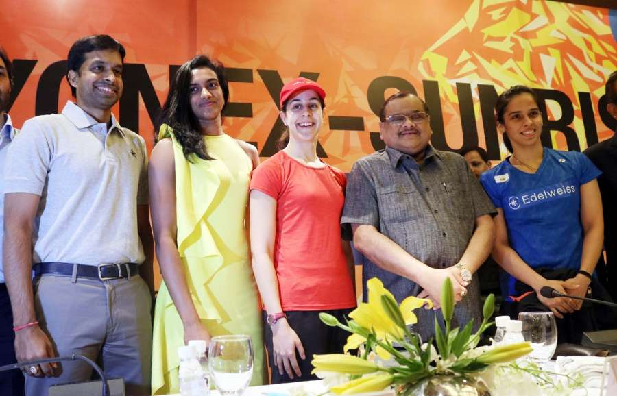 New Delhi: Badminton Association of India (BAI) president Akhilesh Das Gupta, Indian national coach Pullela Gopichand, Indian badminton players Saina Nehwal, PV Sindhu and Spanish badminton player Carolina Marin during a press conference regarding BWF Metlife Yonex Sunrise India Open World Superseries 2017, in New Delhi on Feb 27, 2017. (Photo: IANS) by .