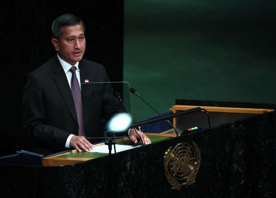 UNITED NATIONS, Sept. 27, 2016 (Xinhua) -- Singapore's Minister for Foreign Affairs Vivian Balakrishnan addresses the 71st session of United Nations General Assembly during the general debate at the UN headquarters in New York, Sept. 26, 2016. (Xinhua/Yin Bogu/IANS) by .