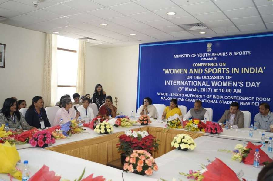 New Delhi: Union Minister of State (I/C) for Youth Affairs and Sports Vijay Goel during a conference on 'Women and Sports in India' on International Women's Day in New Delhi on March 8, 2017. (Photo: IANS) by .