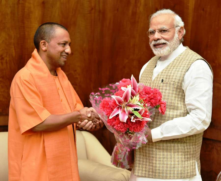 New Delhi: Uttar Pradesh Chief Minister Yogi Adityanath calls on Prime Minister Narendra Modi, in New Delhi on March 21, 2017. (Photo: IANS/PIB) by .