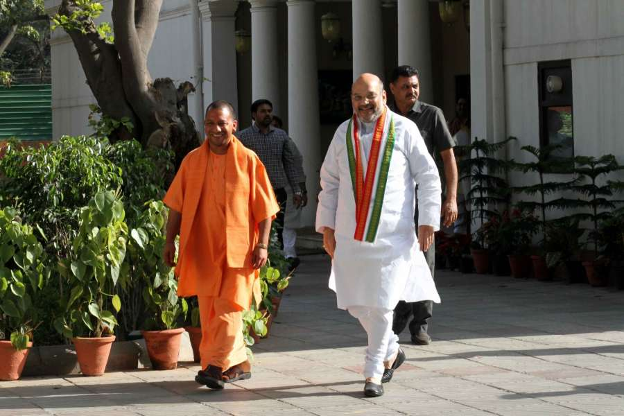 New Delhi: Uttar Pradesh Chief Minister Yogi Adityanath meets BJP chief Amit Shah at latter's residence in New Delhi on March 21, 2017. (Photo: IANS) by .