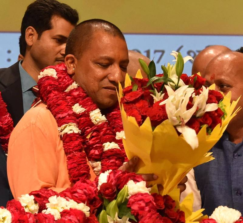 Lucknow: BJP's Uttar Pradesh Chief Minister designate Yogi Adityanath during a press conference in Lucknow on March 18, 2017. (Photo: IANS) by .