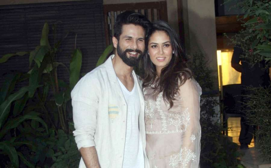 Mumbai: Actor Shahid Kapoor with his wife Mira Rajput during the celebration of Shahid Kapoor's 36th birthday on February 25 in Mumbai on Feb 19, 2017. (Photo: IANS) by .