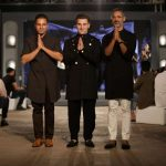 New Delhi: Fashion designers Shantanu and Nikhil with Airbnb co-founder and CEO Brian Chesky during their fashion show in New Delhi on March 19, 2017. (Photo: Amlan Paliwal/IANS) by .