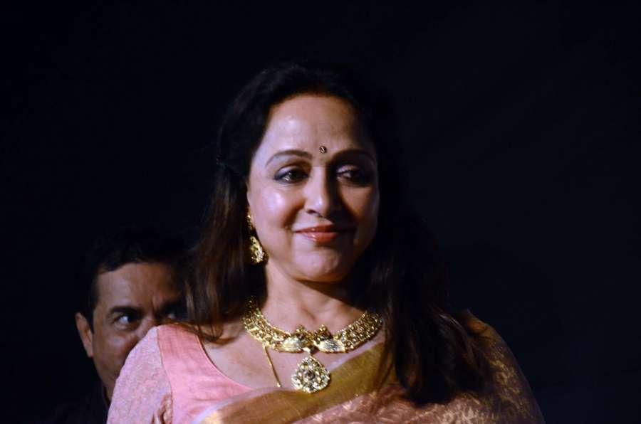 Mumbai: Actress and BJP MP Hema Malini at the Dadasaheb Phalke award function in Mumbai on April 21, 2017. Hema Malini was given Dada Saheb Phalke award for her immense contribution in Indian cinema. (Photo: Sandeep Mahankal/IANS) by .