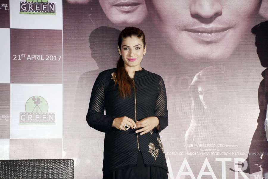 "Kolkata: Actress Raveena Tandon during promotion of film ""Maatr"" in Kolkata, on April 21, 2017. (Photo: Kuntal Chakrabarty/IANS) by ."