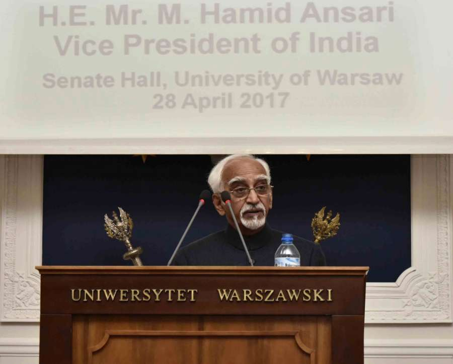 Warsaw: Vice President M Hamid Ansari addresses at the University of Warsaw, in Warsaw, Poland on April 28, 2017. (Photo: IANS/PIB) by .