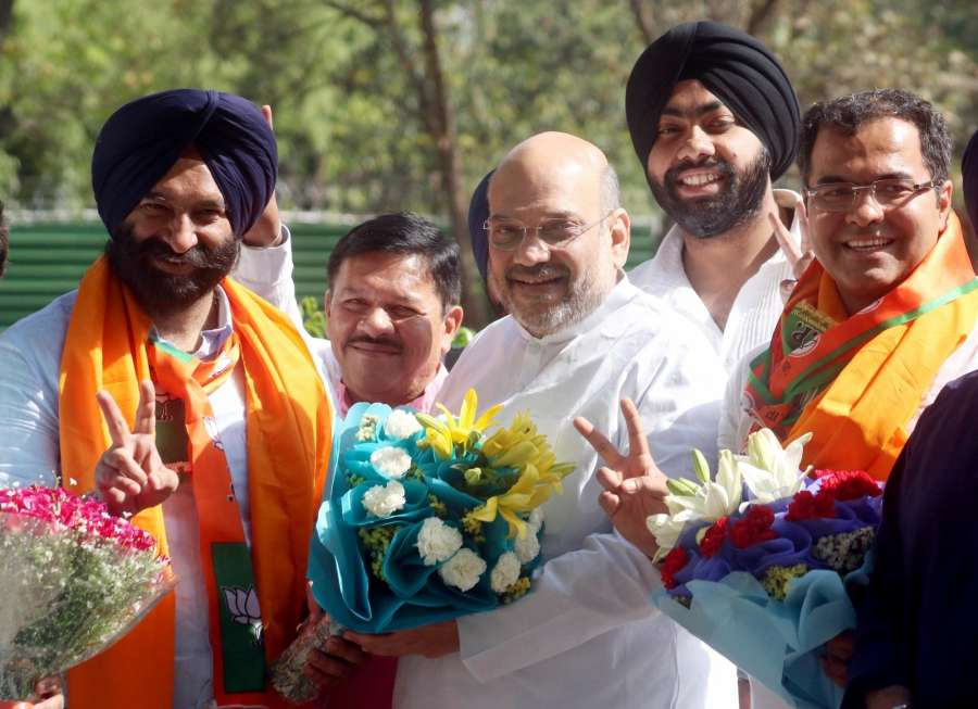 New Delhi: BJP's Manjinder Singh Sirsa who won Delhi assembly byelection from the Rajouri Garden constituency call on party chief Amit Shah in New Delhi, on April 13, 2017. (Photo: IANS) by .