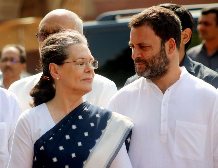 New Delhi: Congress chief Sonia Gandhi and party vice president Rahul Gandhi come out after meeting President Pranab Mukherjee at Rashtrapati Bhawan on April 12, 2017. (Photo: IANS) by .