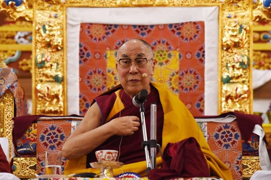 Dirang: Tibetan spiritual leader Dalai Lama addresses at Thupsung Dhargye Ling monastery in Dirang of Arunachal Pradesh on April 6, 2017. (Photo: IANS) by .