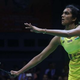 New Delhi: Indian shuttler P.V. Sindhu in action against Carolina Marin of Spain during the final match of India Open 2017 at Siri Fort Sports Complex in New Delhi on April 2, 2017. (Photo: Bidesh Manna/IANS) by .