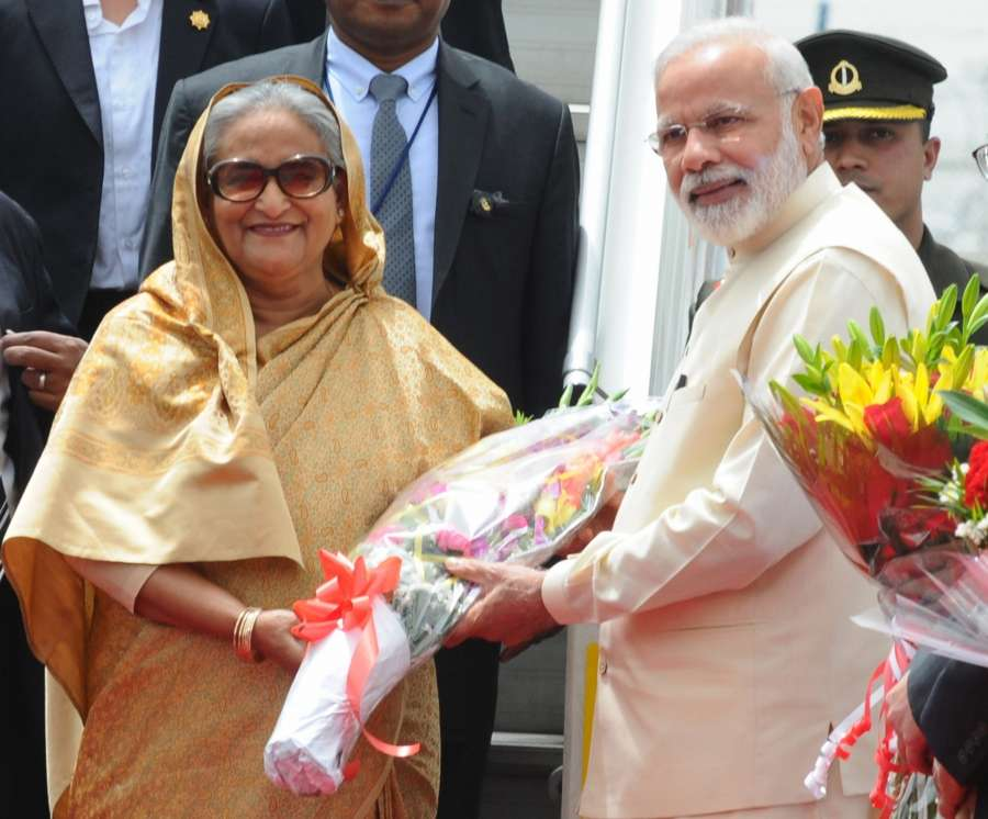 New Delhi: Bangladesh Prime Minister Sheikh Hasina being received by Prime Minister Narendra Modi, on her arrival, at Air Force Station Palam, in New Delhi on April 7, 2017. (Photo: IANS/PIB) by .