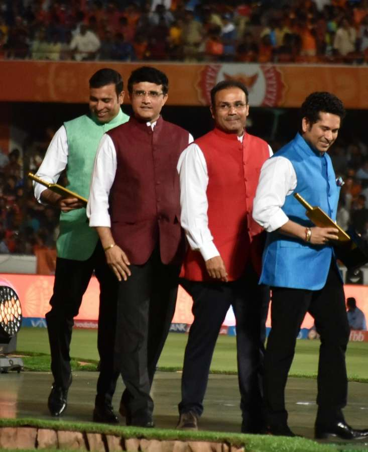 Hyderabad: Cricket Association of Bengal President Sourav Ganguly with Sachin Tendulkar, V. V. S. Laxman and Virender Sehwag mentors of Mumbai Indians, Sunrisers Hyderabad and Kings XI Punjab respectively during the opening ceremony of IPL 2017 at Rajiv Gandhi International Stadium in Hyderabad on April 5, 2017. (Photo: IANS) by .