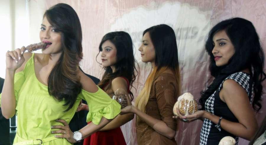 Kolkata: Actress Nusrat Jahan during the launch of ice-cream brand in Kolkata on Feb 24, 2017. (Photo: IANS) by .