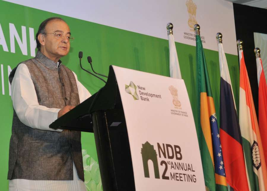 New Delhi: Union Minister for Finance, Corporate Affairs and Defence Arun Jaitley addresses at the opening ceremony of the Second New Development Bank (NDB) Annual Board of Governors' meeting, in New Delhi on April 1, 2017. (Photo: IANS/PIB) by .