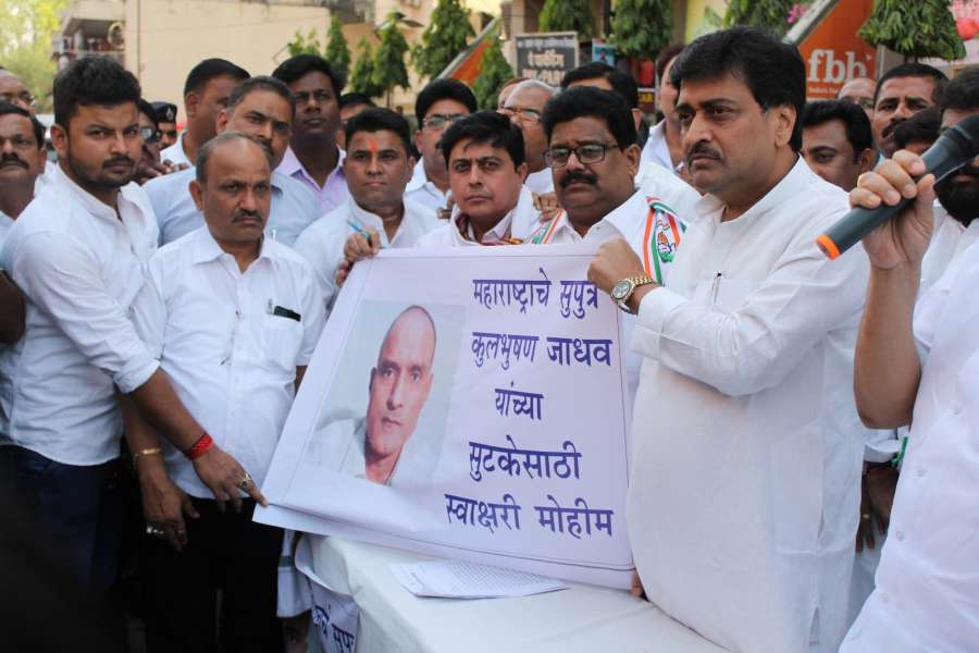 "Nagpur: People participate in a signature campaign after a Pakistani Field General Court Martial awarded the capital punishment to former Indian Navy officer Kulbhushan Jadhav, in Nagpur on April 12, 2017. Jadhav was arrested on March 3, 2016, reportedly in Balochistan. He has been accused of ""involvement in espionage and sabotage activities against Pakistan"". (Photo: IANS) by ."