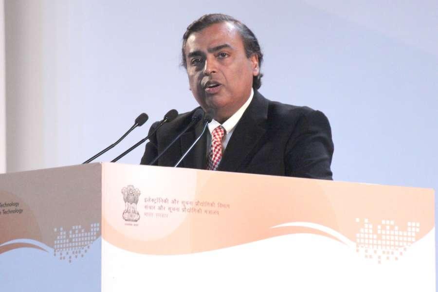 New Delhi: Reliance Industries Ltd (RIL) Chairman Mukesh Ambani addresses at the launch ceremony of Digital India Week, in New Delhi on July 1, 2015. (Photo: Amlan Paliwal/IANS) by .