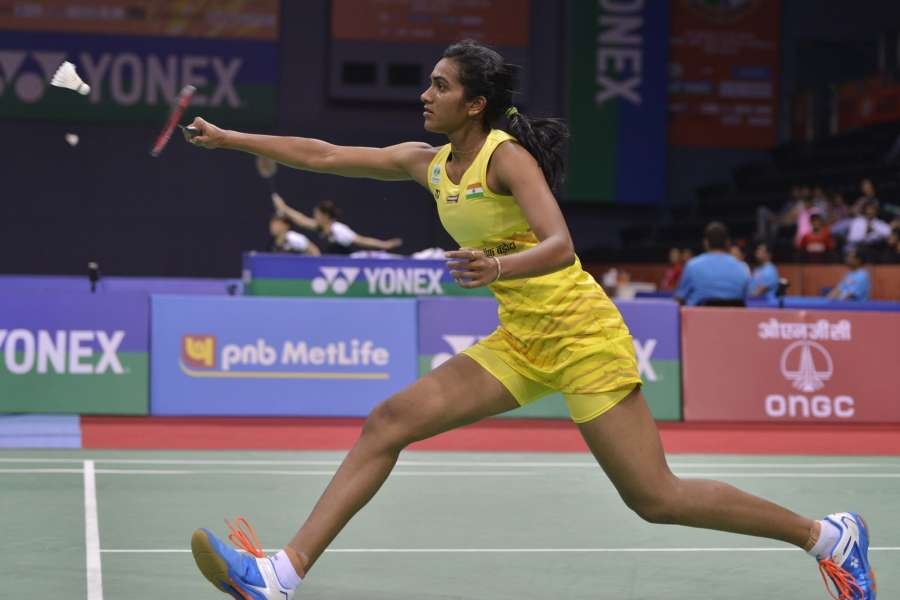 New Delhi: Indian shuttler P V Sindhu in action against compatriot Saina Nehwal in the quarter-final match of 2017 India Open World Superseries badminton championships in New Delhi, on March 31, 2017. PV Sindhu won. (Photo: IANS) by .