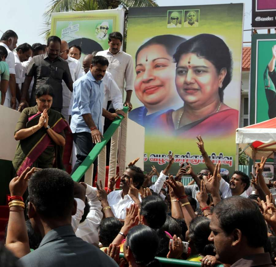 Chennai: AIADMK leader Sasikala Natarajan arrives to attend a party programme where she formally took over as the All India Anna Dravida Munnetra Kazhagam's general secretary - the post Jayalalithaa held before she passed away earlier this month, in Chennai on Dec 31, 2016. (Photo: IANS) by .