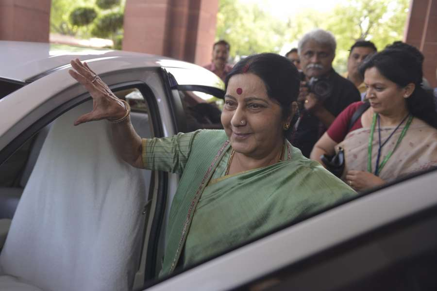 New Delhi: External Affairs Minister Sushma Swaraj arrives at Parliament on April 5, 2017. (Photo: IANS) by .