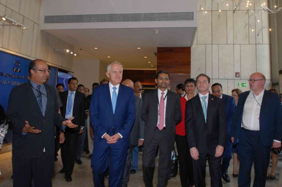 Mumbai: Australian Prime Minister Malcolm Turnbull during his visit to TCS office in Mumbai on April 11, 2017. (Photo: IANS) by .