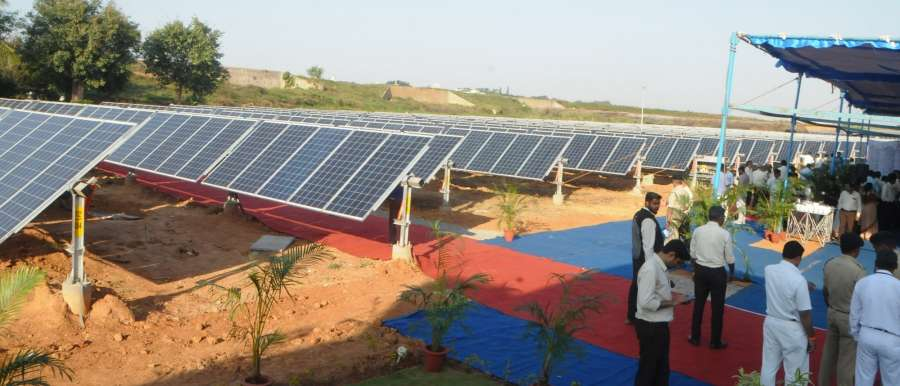 Bengaluru: The 3.5mw solar power plant at HAL airport in Bengaluru on Dec 23, 2016. (Photo: IANS) by .