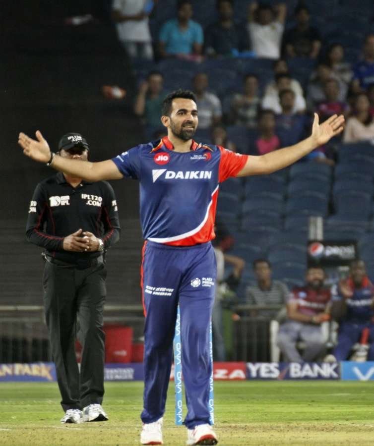 Pune: Delhi Daredevils captain Zaheer Khan celebrates after taking the wicket of Deepak Chahar during an IPL 2017 match between Rising Pune Supergiant and Delhi Daredevils at Maharashtra Cricket Association Stadium in Pune on April 11, 2017. (Photo: IANS) by .